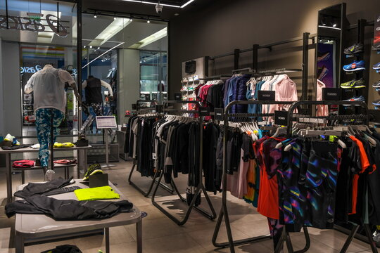 Skopje, North Macedonia - March 12, 2021: Asics store in Skopje, North Macedonia. Asics is a Japanese multinational company which produces footwear and sports equipment