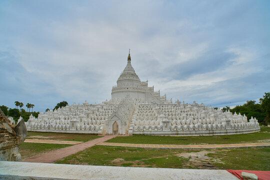 White stone temple in Sagaing, Myanmar (Burma)