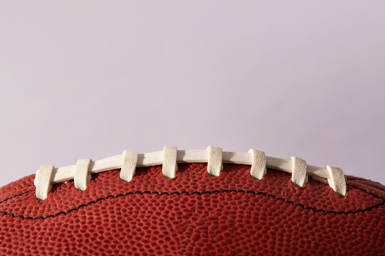 Close-up of football ball laces