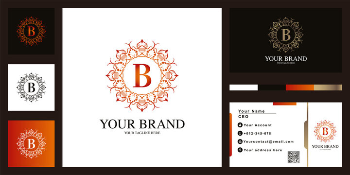 Letter B luxury ornament flower frame logo template design with business card.
