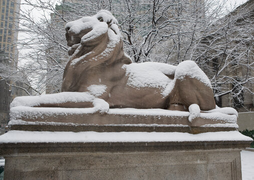 Lion sculpture covered in snow