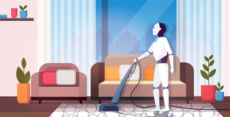Wall Mural - modern robot using vacuum cleaner robotic character doing housework artificial intelligence technology cleaning concept modern living room interior horizontal full length
