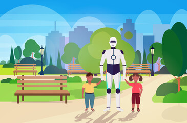 Wall Mural - modern robot nanny walking with children artificial intelligence technology concept public park cityscape background horizontal full length