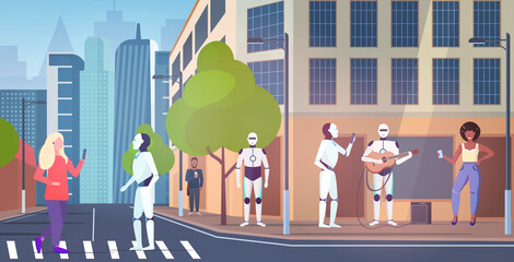 Wall Mural - people and robotic characters walking city street robot playing guitar artificial intelligence technology concept cityscape background horizontal full length