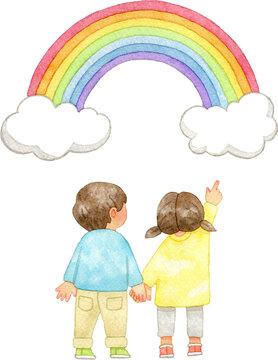 手をつなぎ虹を指さす子供たち