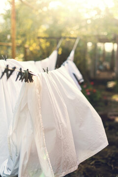 Close-up Of White Clothes Drying On Clothesline
