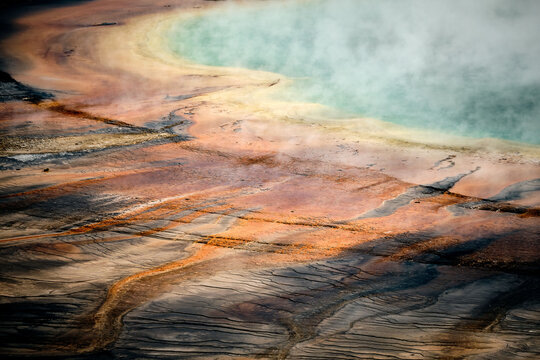 Closeup shot of the Grand Prismatic Spring, Yellowstone National Park, Wyoming USA