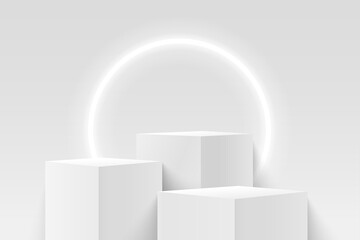 Obraz Abstract vector rendering 3d shape for products display presentation. Modern white and grey cube pedestal podium with empty room and circular neon background. Minimal wall scene. - fototapety do salonu