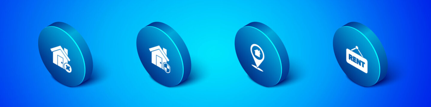 Set Isometric House with wrong mark, Location house, Hanging sign Rent and under protection icon. Vector