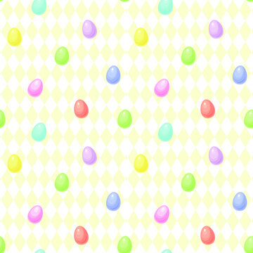 Colorful Easter eggs in pastel rainbow colors with a pale yellow diamond pattern background. Seamless repeating background. Vector illustration.