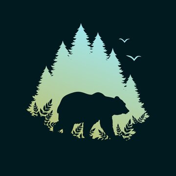 Silhouette of a bear in the forest