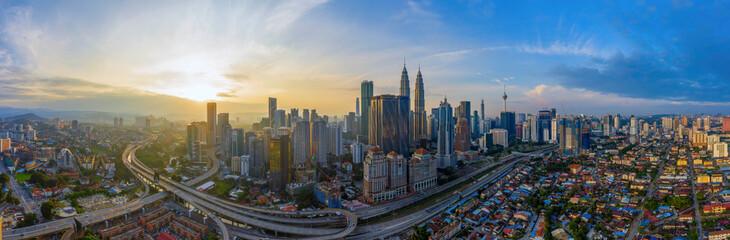 Wall Murals Kuala Lumpur Aerial Panoramic View Of Sunrise At Kuala Lumpur City Skyline