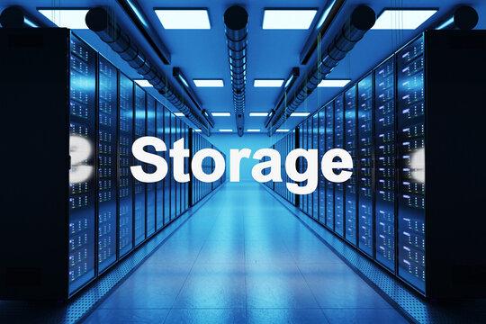 storage logo in large modern data center with multiple rows of network internet server racks, 3D Illustration