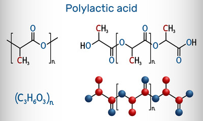 Fototapeta Polylactic acid, polylactide, PLA molecule. It is polymer, bioplastic, thermoplastic polyester. Structural chemical formula and molecule model obraz