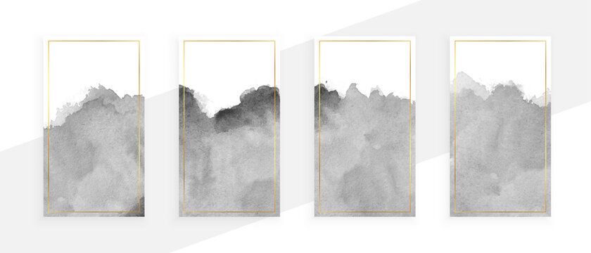 gray watercolor banners set of four