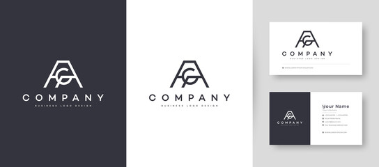 Fototapeta Flat Minimal Initial AG, GA Letter Logo With Premium Business Card Design Vector Template for Your Company Business obraz