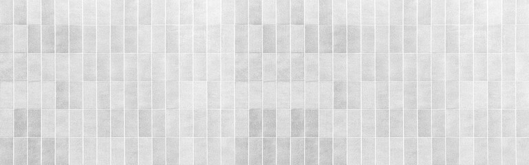 Obraz Panorama of Vintage white brick tile wall pattern and background seamless - fototapety do salonu