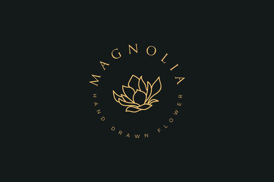 Hand drawn vector magnolia flowers logo illustration. Floral wreath. Botanical floral emblem with typography on white background