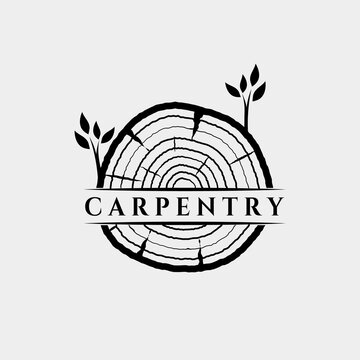 slice wood carpentry logo vector illustration design