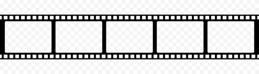 Fototapeta film strip icon isolated on transparent background. tape photo film strip frame, Video Film strip roll, Vector illustration obraz