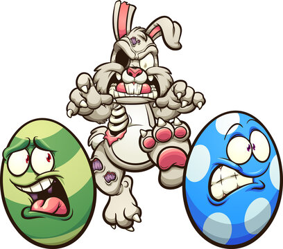 Zombie Easter rabbit chasing eggs. Vector clip art illustration with simple gradients. Some elements on separate layers.
