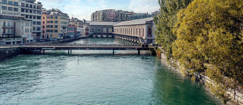 Leman lake in Geneva