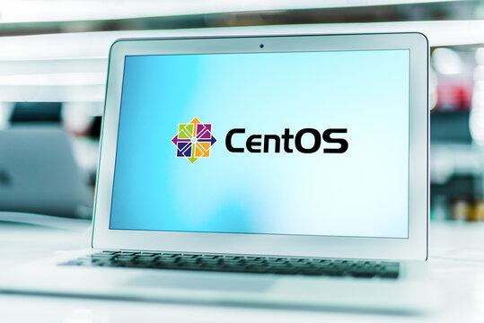Laptop computer displaying logo of CentOS