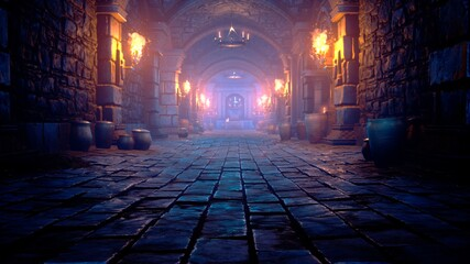 Fototapeta Scary endless medieval catacombs with torches. Mystical nightmare concept. 3D Rendering. obraz