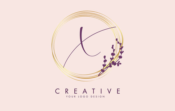 Handwritten X Letter logo design with golden circles and purple leaves on branches around. Vector Illustration with X letter.