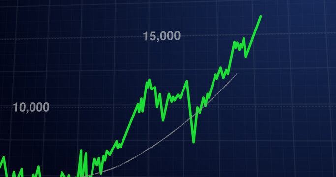 Stock market graphic of the stock market going up
