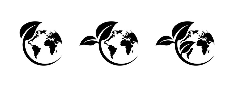 Eco earth icon set. Green world icons set. World environment day. Ecology concept. Global map with leaves. Nature illustration. Planet earth. Earth day. Save earth. Vector graphic.