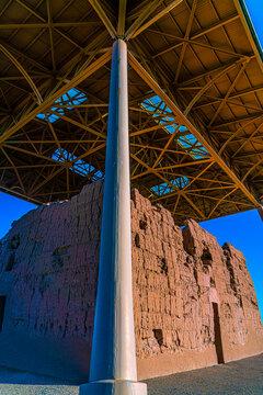 Casa Grande Ruins National Monument in Arizona. Sonoran Desert Hohokam 'Great House'. Established in 1918 by President Woodrow Wilson.