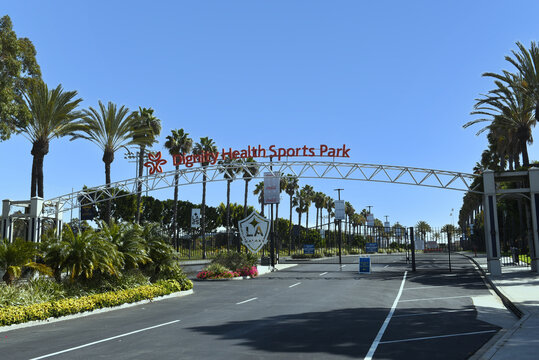 CARSON, CALIFORNIA - 20 MAR 2021: Avalon Boulevard entrance to Dignity Health Sports Park, on the campus of Cal State Dominguez Hills, home to the LA Galaxy of Major League Soccer.