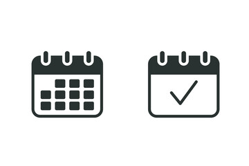 Calendar icon. Simple solid style. Date, planner, pictogram, day, month, schedule, time event organizer symbol concept. Vector illustration isolated on white background. EPS 10. - fototapety na wymiar