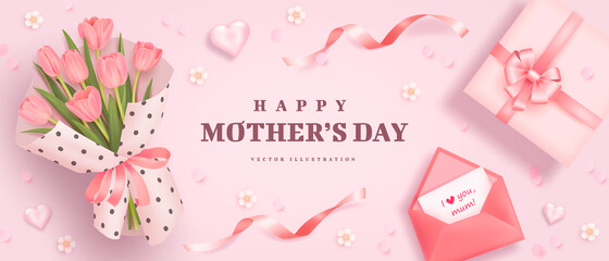 Obraz Mother's day poster or banner with realistic hearts, bouquet of tulips, pink envelope and gift box on pink background - fototapety do salonu