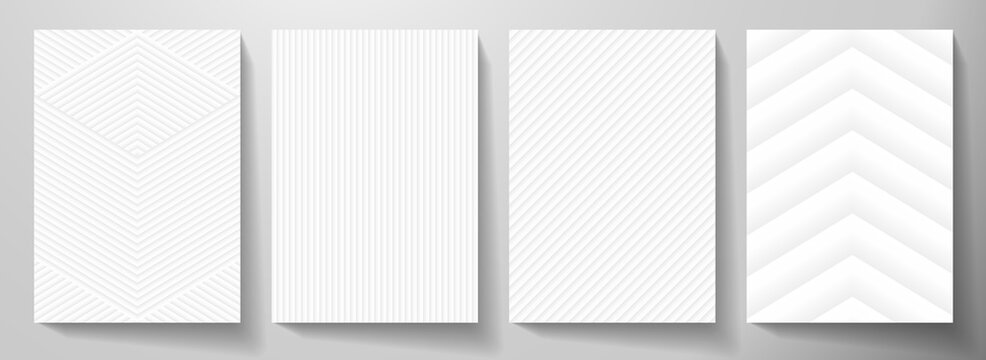 Modern blank white background design set. Creative dynamic line pattern (geometric stripe ornament) in monochrome. Abstract graphic vector background for cover notebook,vertical business page template