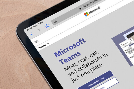Ostersund, Sweden - Mars 21, 2021: Microsoft Teams website on a tablet. Teams is a unified team communication and collaboration platform with workplace chat, video meetings, and file storage.