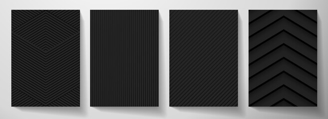 Obraz Modern blank black background design set. Creative dynamic line pattern (geometric stripe ornament) in monochrome. Abstract graphic vector background for cover notebook,vertical business page template - fototapety do salonu