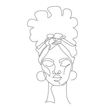 Black woman afro portrait. Female profile continuous line art.