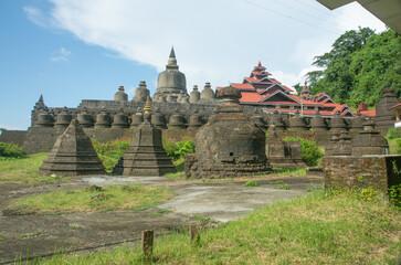 Beautiful architecture and Buddhism art of temple, Mrauk U Myanmar Wall mural