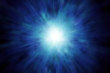 光輝く集中線、青白い星雲、中央がまぶしく光る、超新星爆発のイメージ