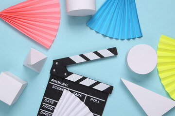 Movie clapperboard on abstract background with geometric shapes. Minimalism. Concept art. Creative layout