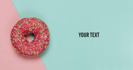 Minimalistic food still life. Glazed donut
