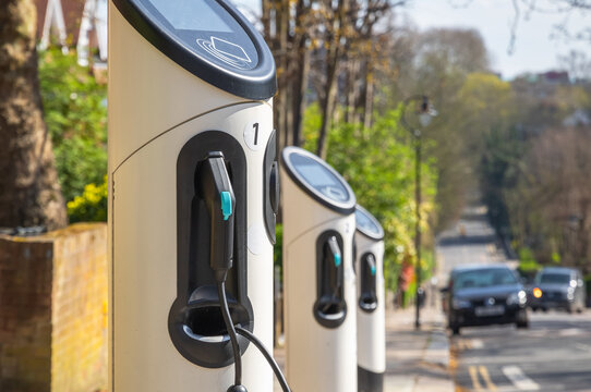 Electric car charging station on London street