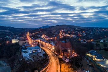 Grybów, panorama miasta, droga krajowa  nr 28