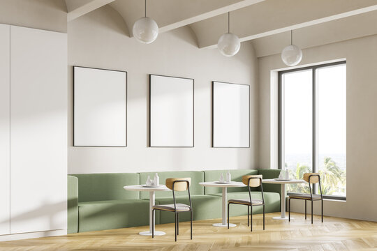 Cafeteria, dining room in university, cafe with tables and chairs, counter bar hotel. Canteen interior in school, college or office. Mock up posters copy space.