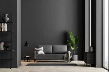 Dark living room interior with black empty wall - fototapety na wymiar