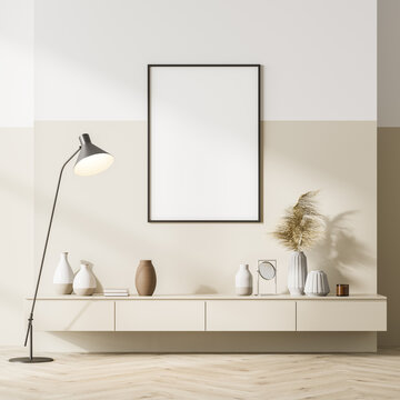 Bright scandinavian living room interior with a beige sideboard