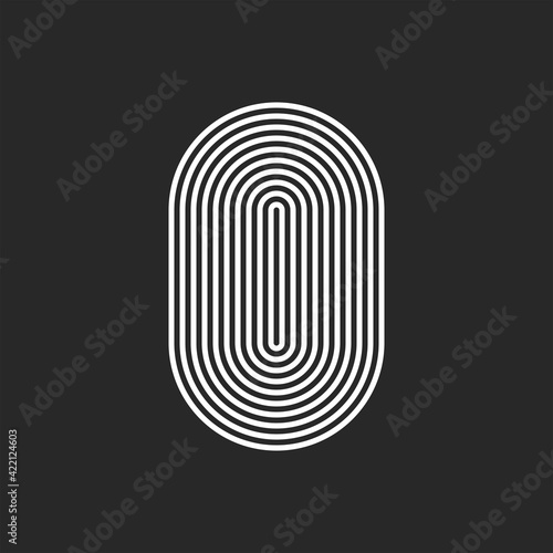Wall mural Letter O or 0 logo initial monogram, smooth rounded offset thin lines, sleek lines abstract track oval shape, typography hipster design element