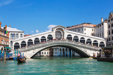View of the Grand canal and the Rialto bridge. Venice, Italy